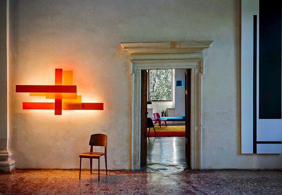 Contemporary wall light / aluminum / methacrylate / fluorescent