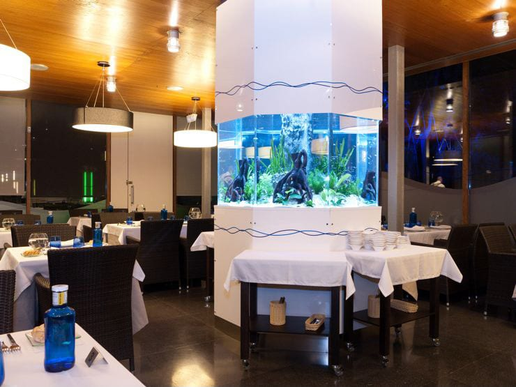 Proyecto de iluminación en restaurante, iluminación decorativa acuarium