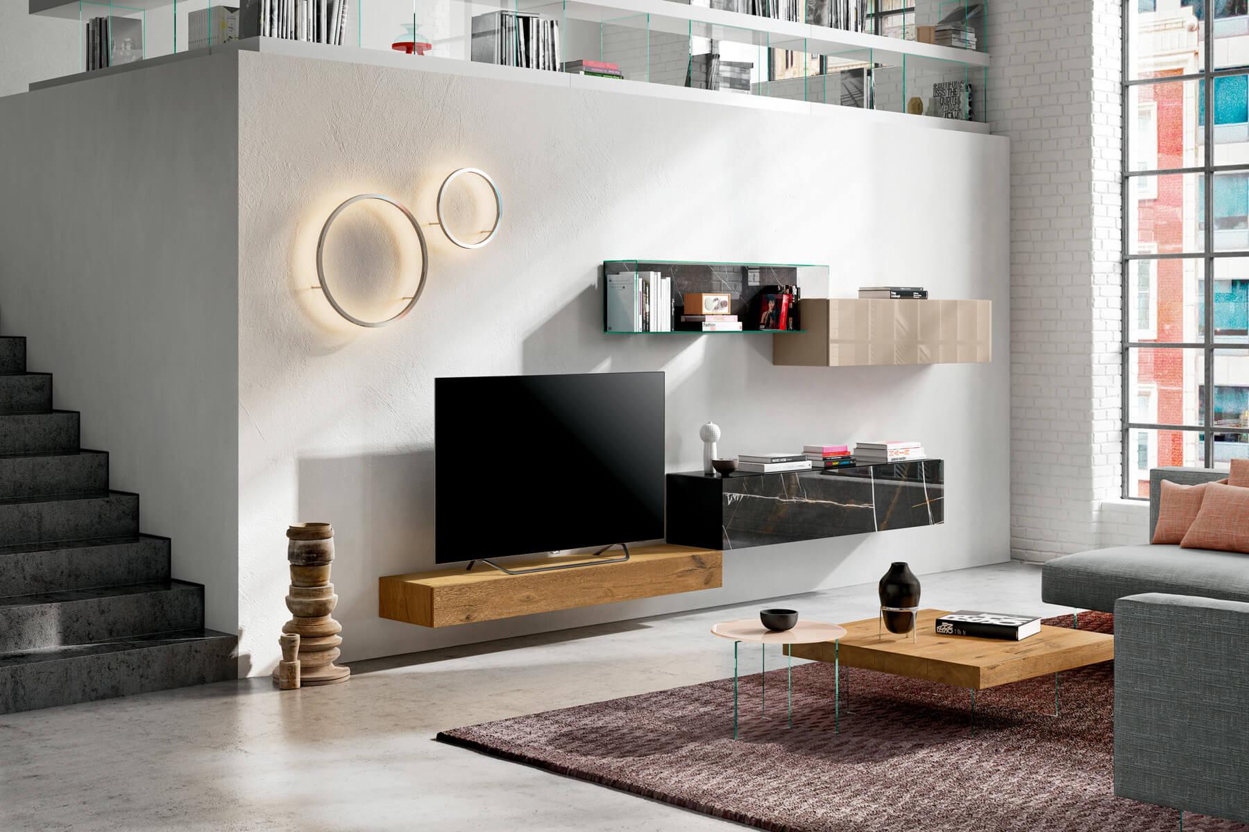 parete-attrezzata-legno-e-vetro