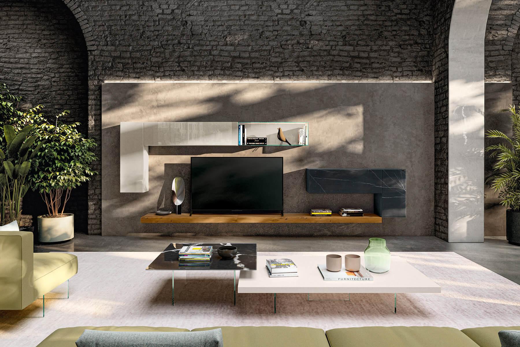 parete-attrezzata-legno-rovere-vetro