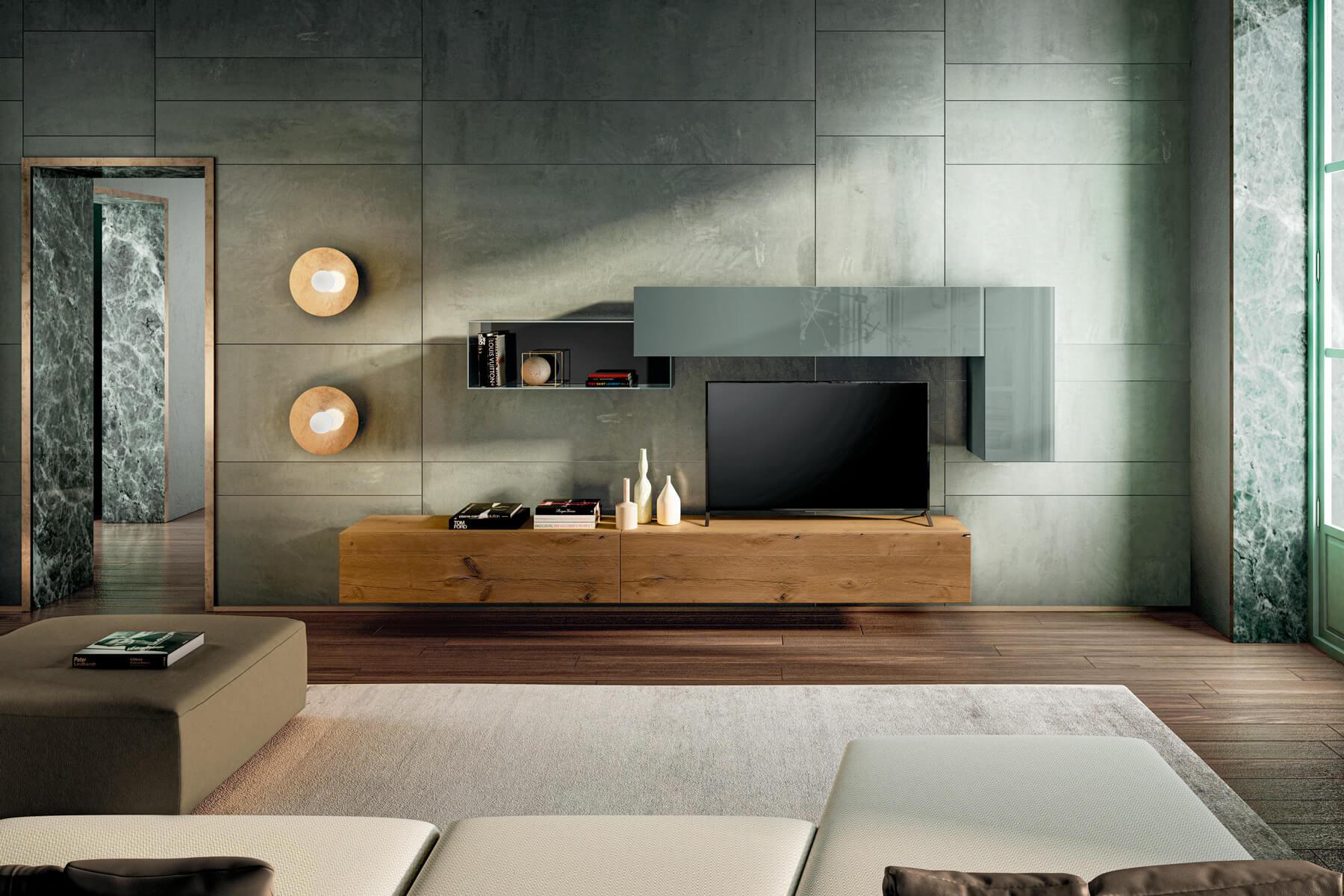 parete-attrezzata-legno-rovere